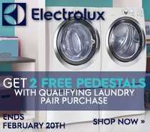 Electrolux Get 2 Free Pedestals with Qualifying Laundry Pair Purchase