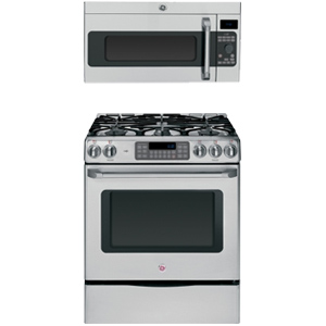 GE Cafe series Range + Microwave 2 Pieces kitchen appliance package