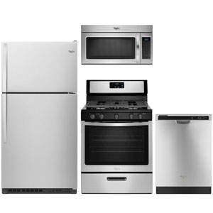Whirlpool stainless steel kitchen appliance package with top-freezer refrigerator