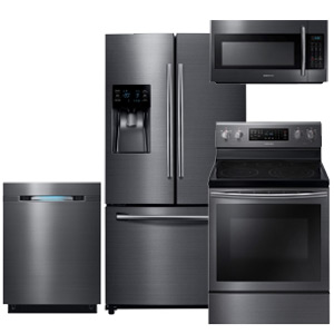 Samsung Black Stainless 4-Piece Kitchen Appliance Package