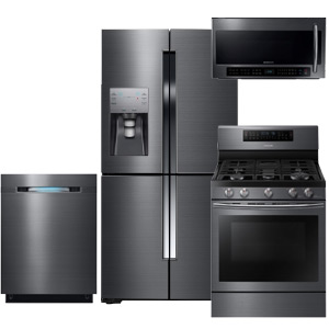 Samsung Black Stainless Steel 4-Piece Kitchen Appliance Package