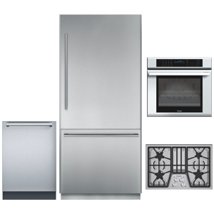 Thermador Stainless Steel 4-Piece Kitchen Appliance Package with Bottom Freezer Refrigerator