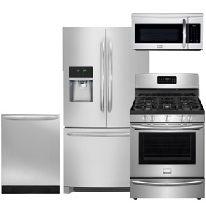 Frigidaire Gallery Smudge-Proof Kitchen Appliance Package with French Door Refrigerator