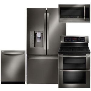 LG Black Stainless Steel Kitchen Appliance Package with French Door Refrigerator
