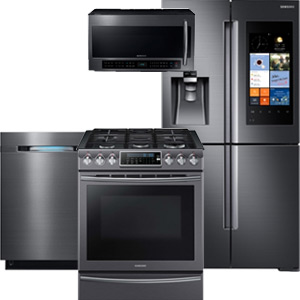 Samsung Black Stainless Steel Smart Home Kitchen Appliance Package