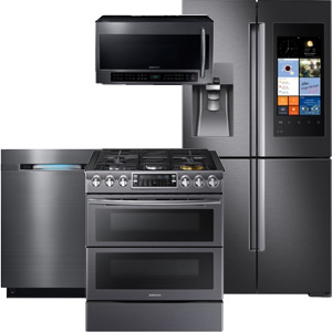 Samsung Black Stainless Steel Smart Home 2 Kitchen Appliance Package with French Door Refrigerator