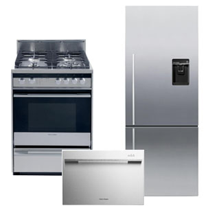 Fisher Paykel 3-Piece Stainless Steel Kitchen Appliance Package with Bottom Freezer Refrigerator