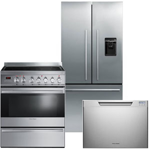 Fisher Paykel 3-Piece Stainless Steel Kitchen Appliance Package with French Door Refrigerator