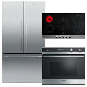 Fisher Paykel Stainless Steel Kitchen Appliance Package with French Door Refrigerator