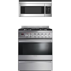 Fisher Paykel Stainless Steel Kitchen Appliance Package with Range and Microwave