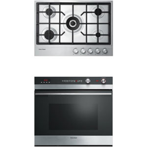 Fisher Paykel Stainless Steel Kitchen Appliance Package with Wall Oven and Cooktop