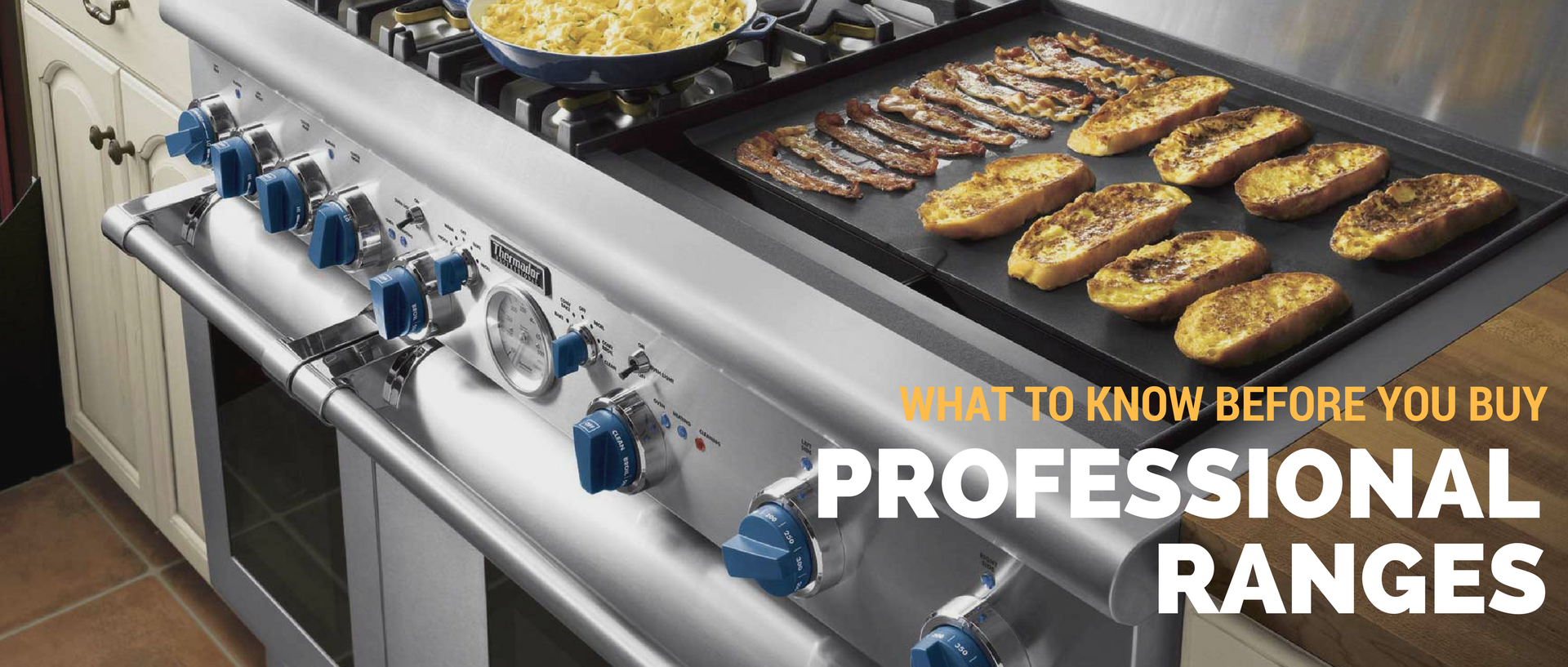 A stainless steel professional range from Thermador with blue knobs, available at Appliances Connection.