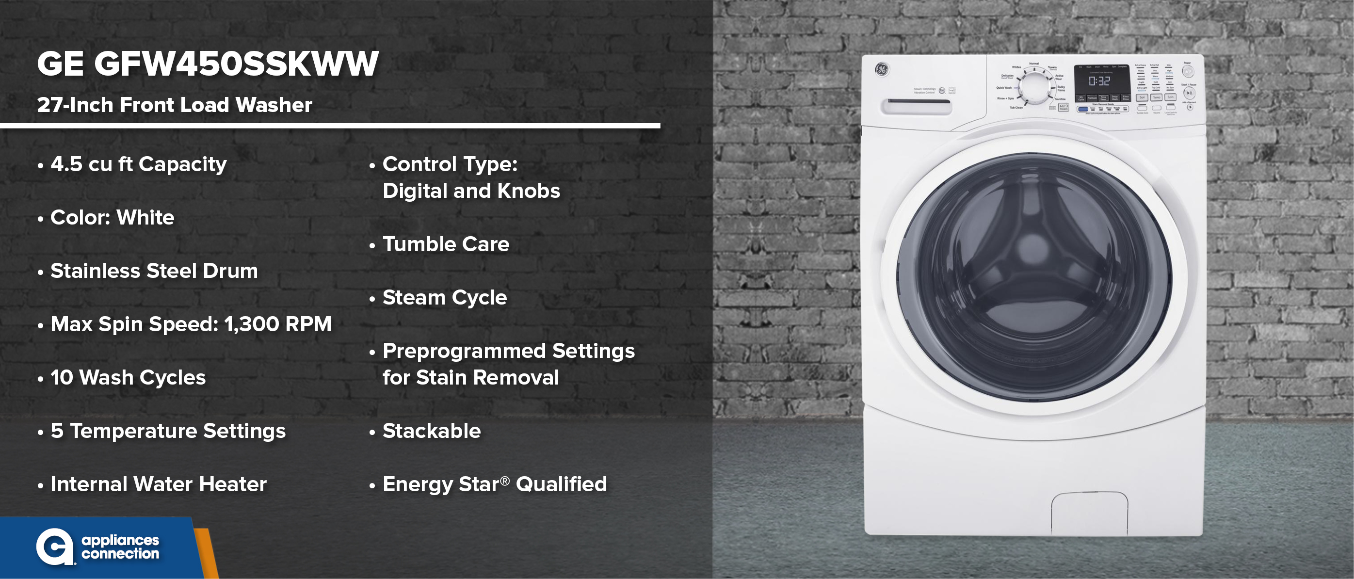 GE GFW450SSKWW 27-Inch Front Load Washer
