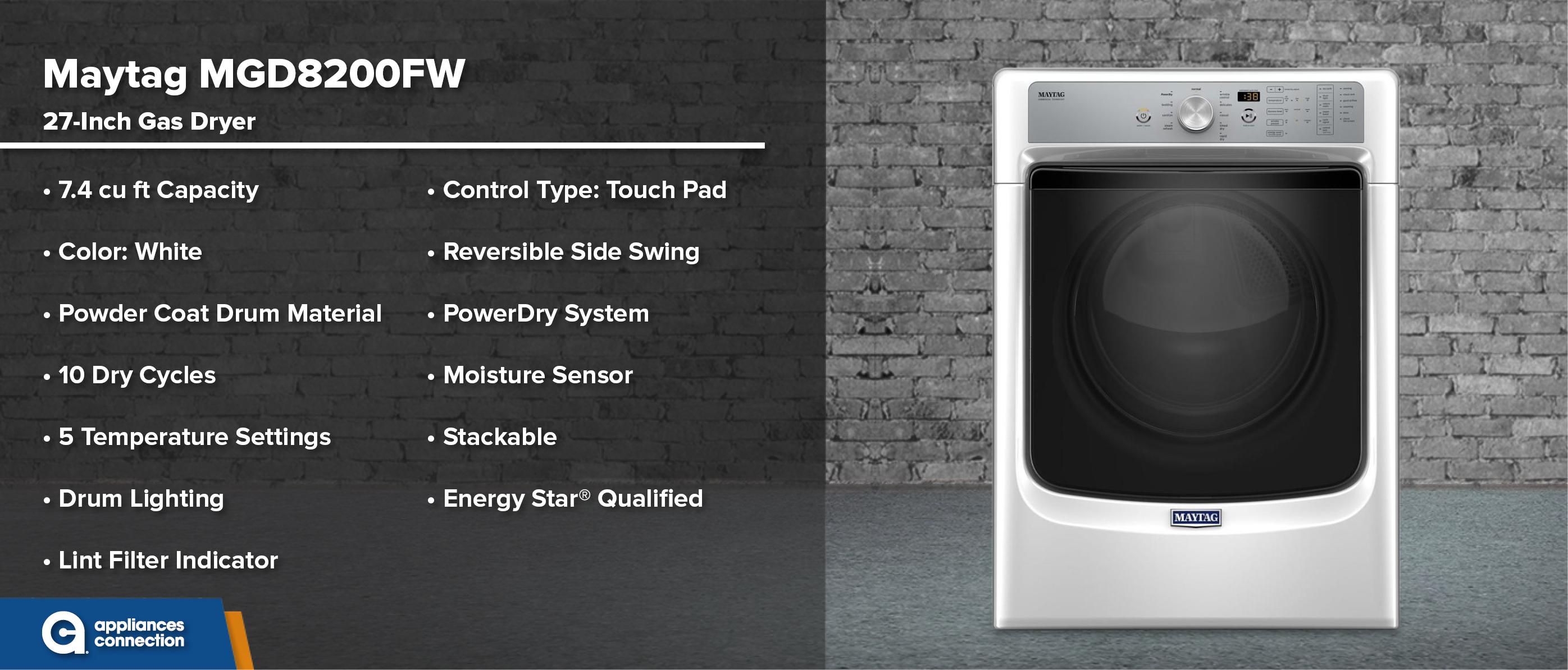 Maytag MGD8200FW 27-Inch Gas Dryer