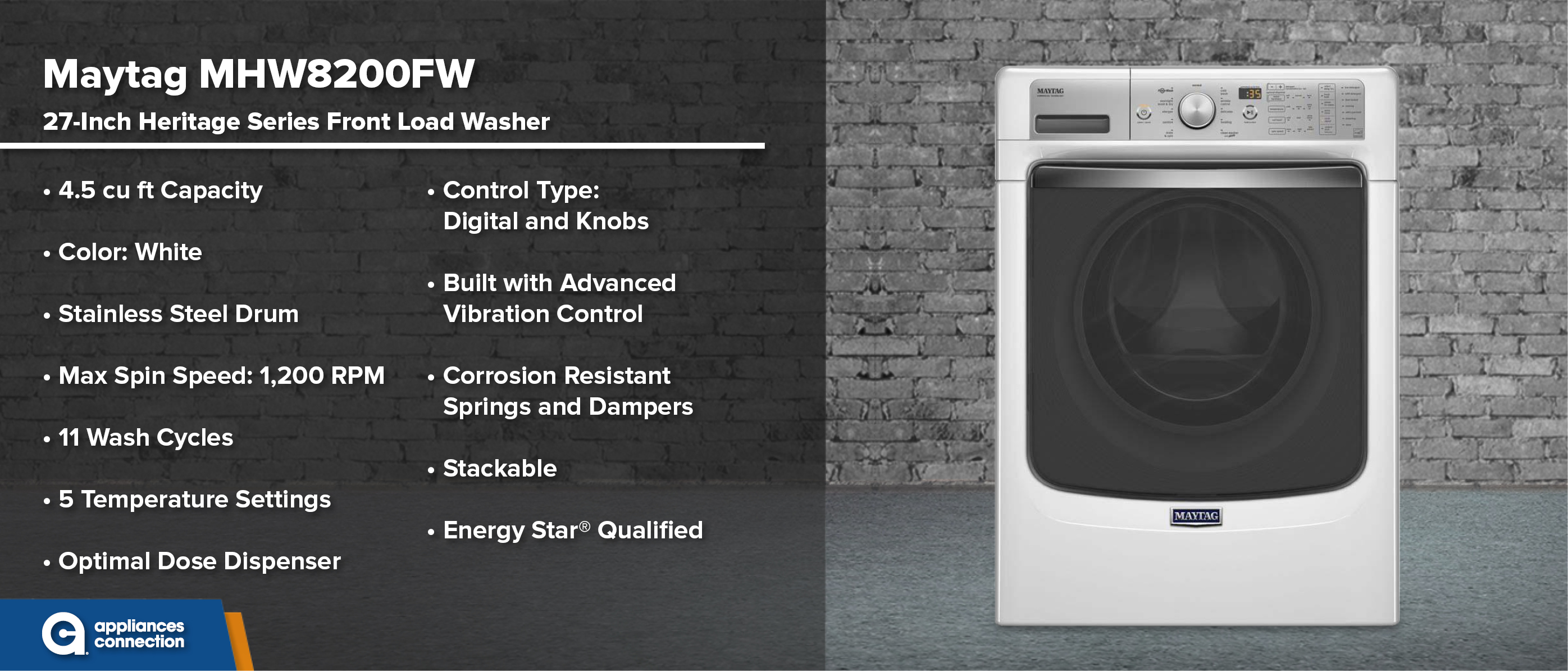 Maytag MHW8200FW 27-Inch Front Load Washer