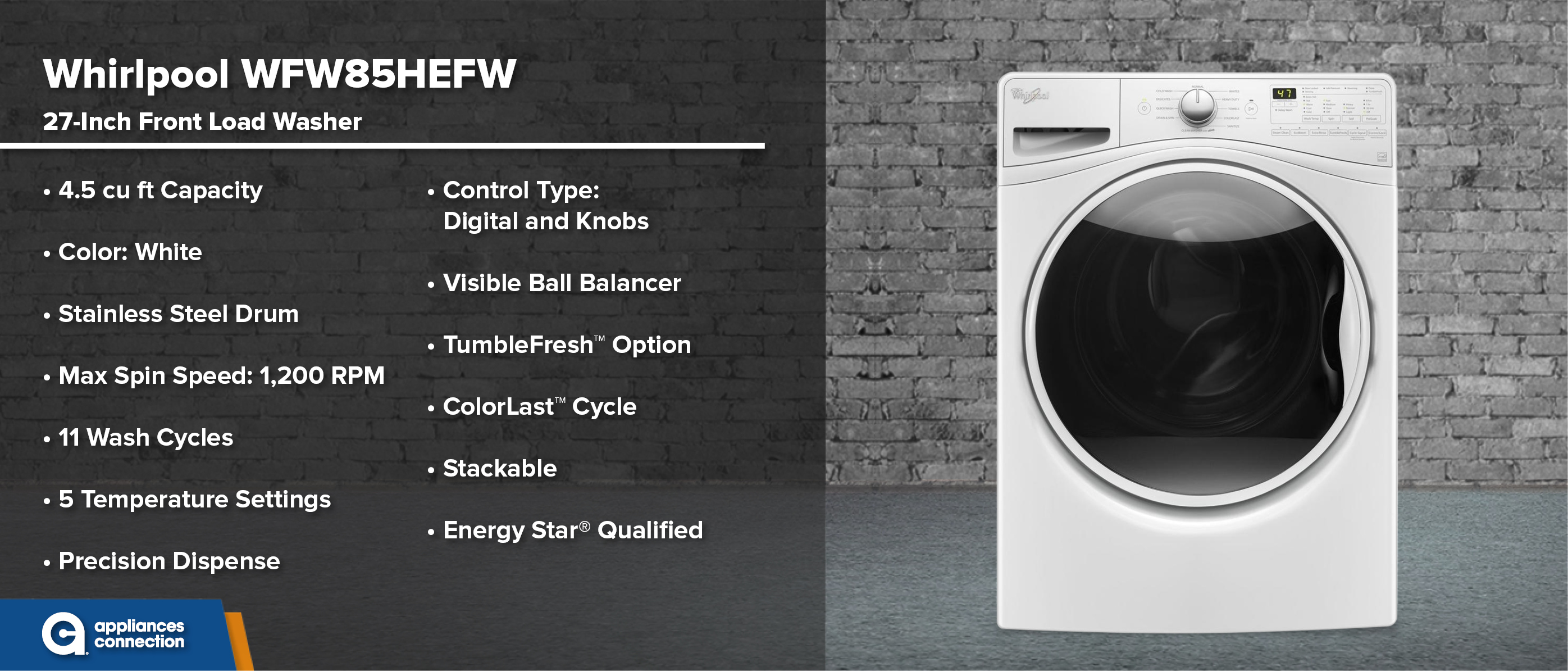 Whirlpool WFW85HEFW 27-Inch Front Load Washer