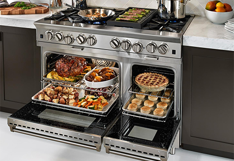 A stainless steel Blue Star BSP488BLP Freestanding Range, available at Appliances Connection.