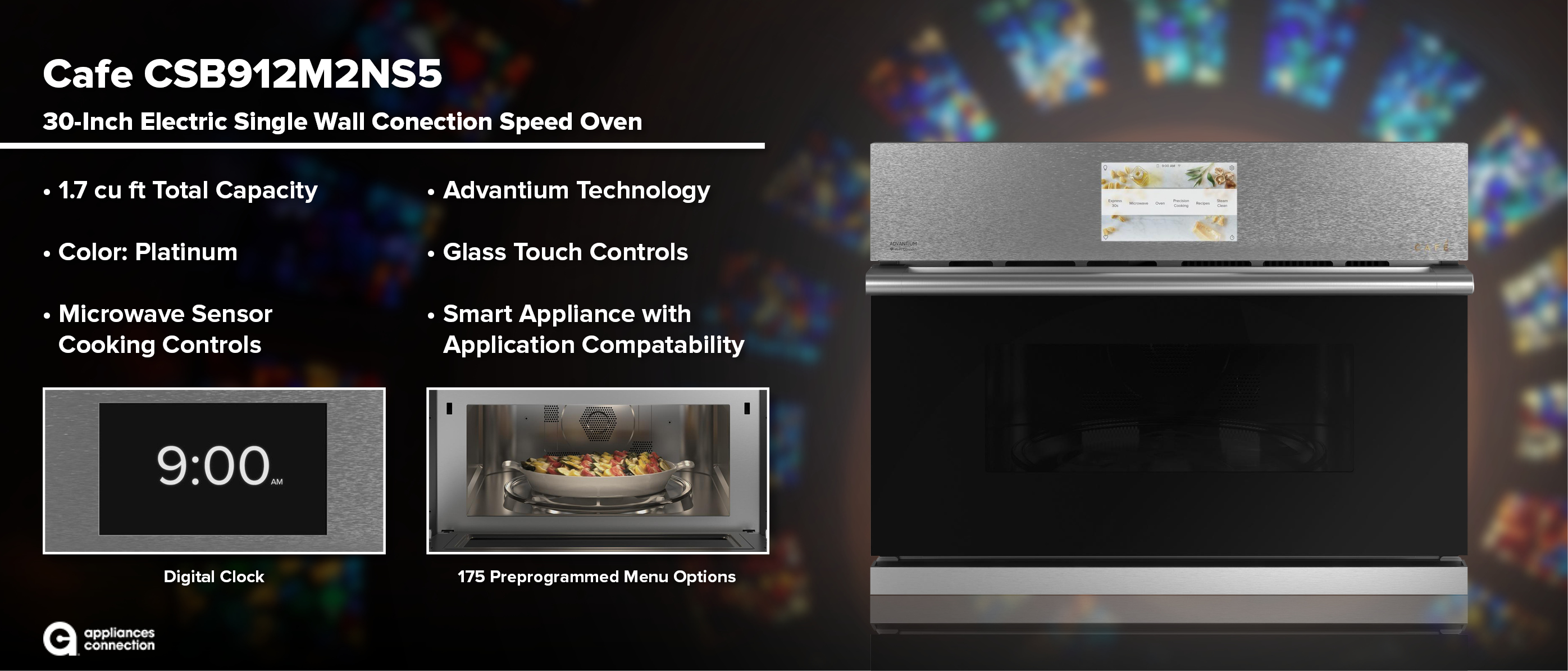 CSB912M2NS5 Café Modern Glass Series 30 Inch Platinum Electric Single Wall Convection Speed Oven