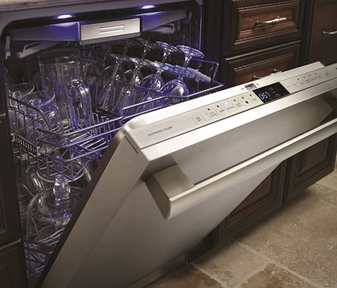 Thermador DWHD650JFM Sapphire Glow Stainless Steel Panel Dishwasher Closeup