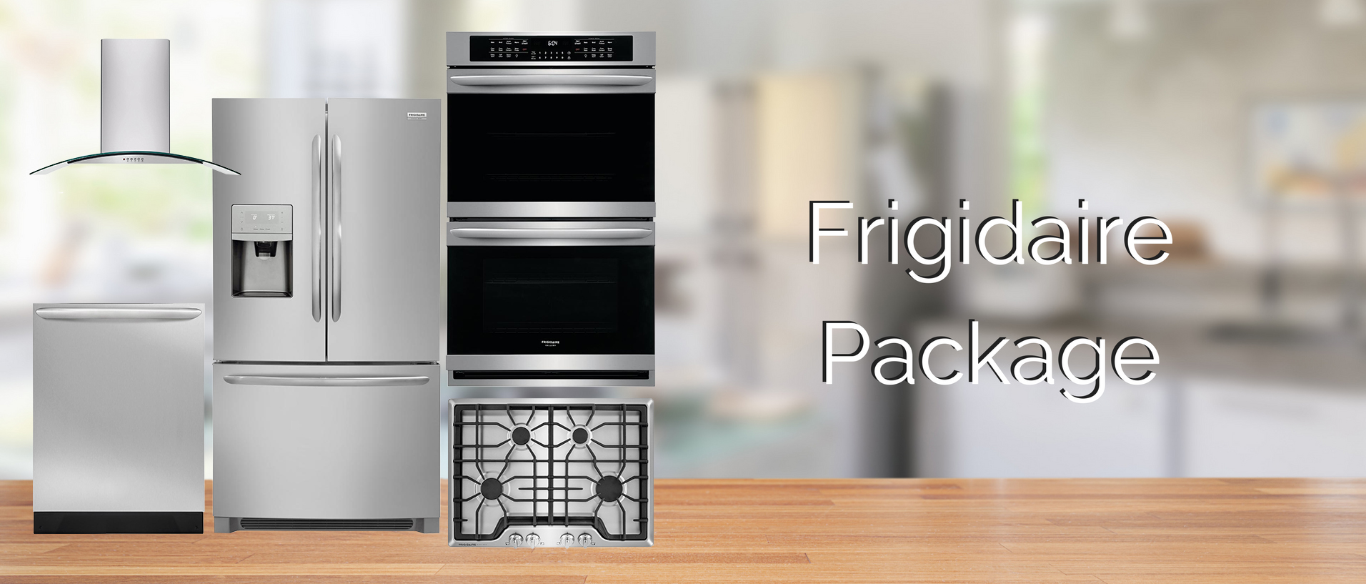 Frigidaire kitchen package with French door refrigerator cooktop hood double wall oven and dishwasher