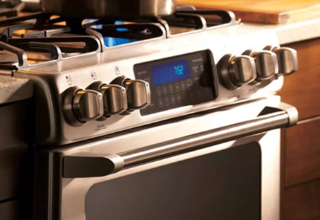 The GE Cafe Series CGS990SETSS Slide-in Gas Range, available at Appliances Connection.