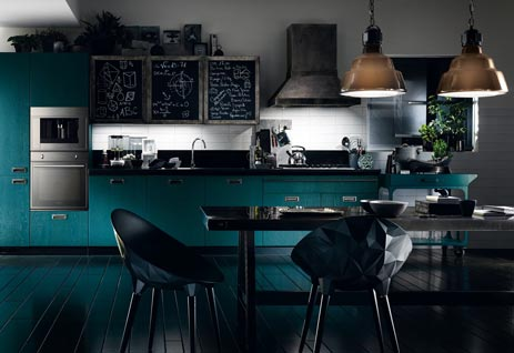 Blue Horizontal Kitchen