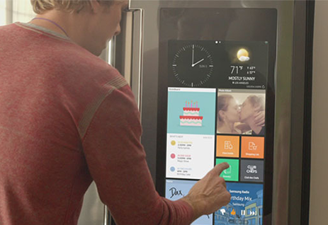No time to buy groceries this week? The Samsung RF22K9581SG Family Hub Refrigerator lets you order exactly what you need right from the touch screen on your refrigerator.
