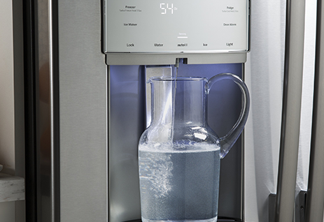 The PYE22KSKSS Fridge from GE has an extendable base panel that accomodates larger sized pots and pitchers.