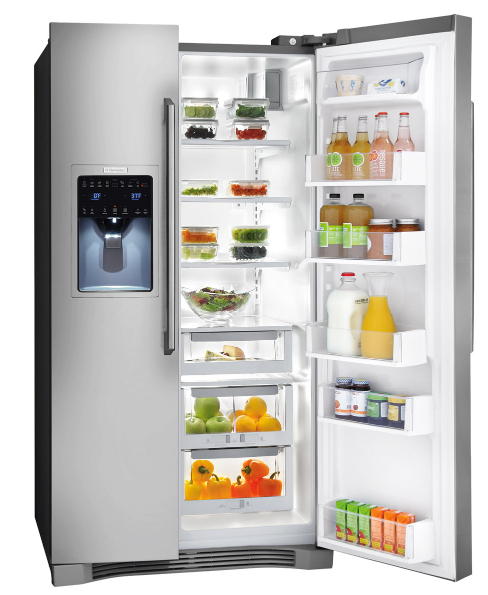 The Electrolux  with IQ-Touch EI26SS30JS is a Side-by-Side Fridge with an external water dispenser and right door is opened to reveal the inside of the fridge.