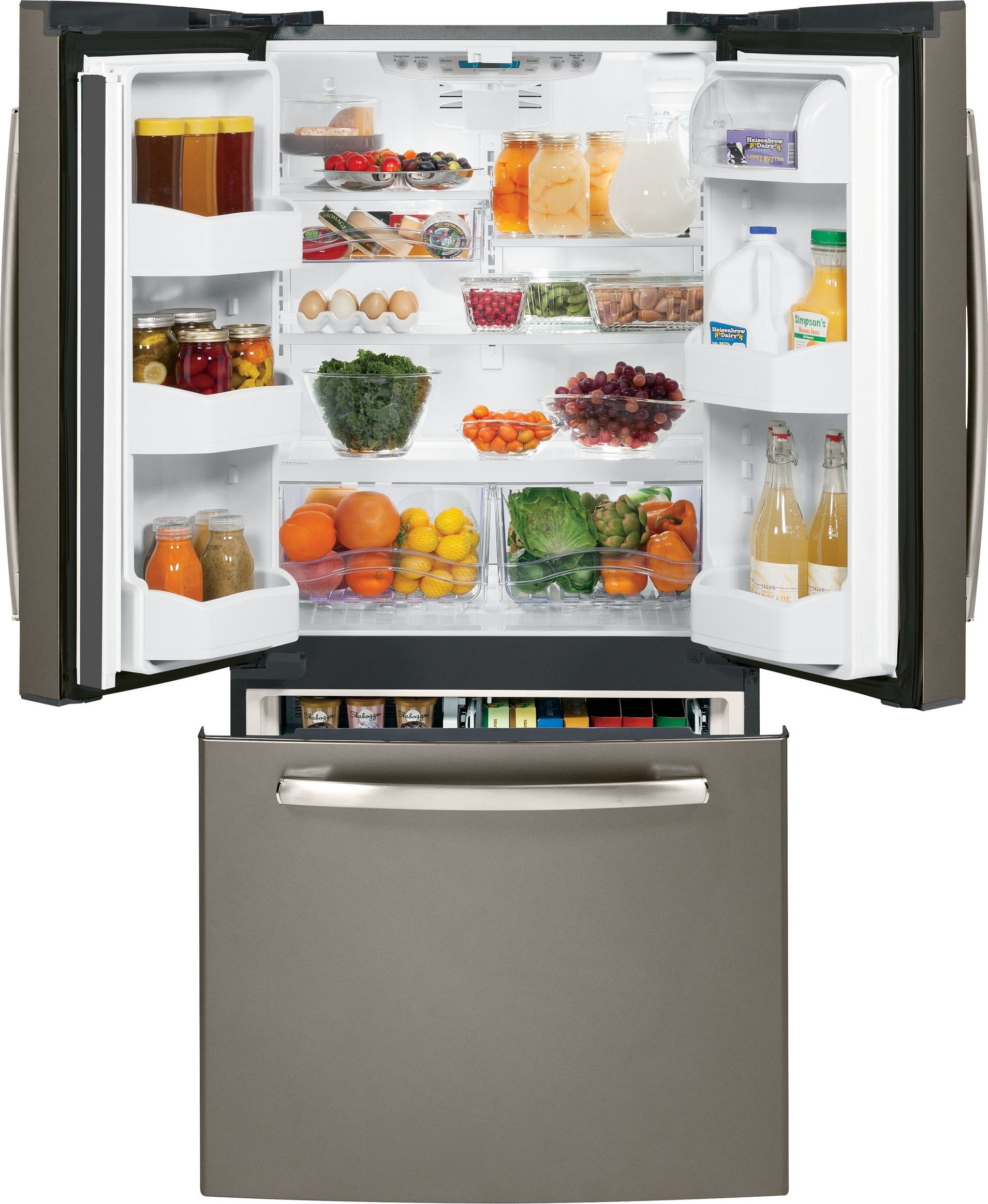 The GE GNS23GMHES 22.7 CU. FT. French-Door Refrigerator in Slate has both refrigerator doors open and the freezer drawer to show the food inside the unit.