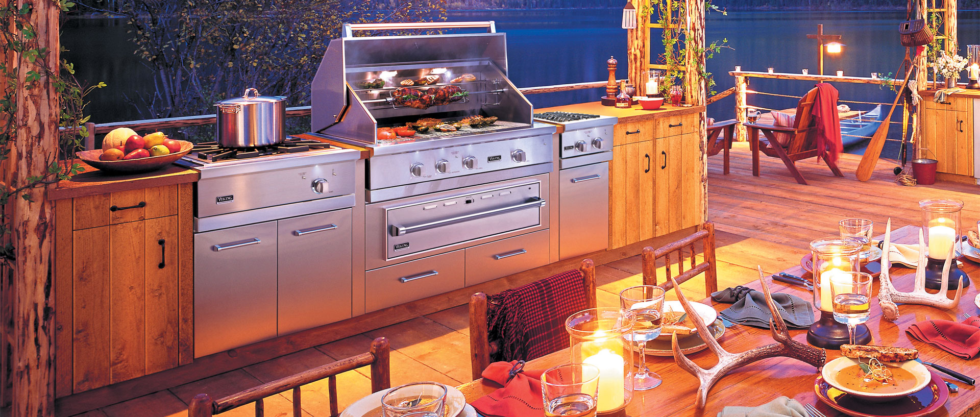 The fun never stops, even if the sun sets in a Viking Outdoor Kitchen complete with a built-in grill, side burners, and more!