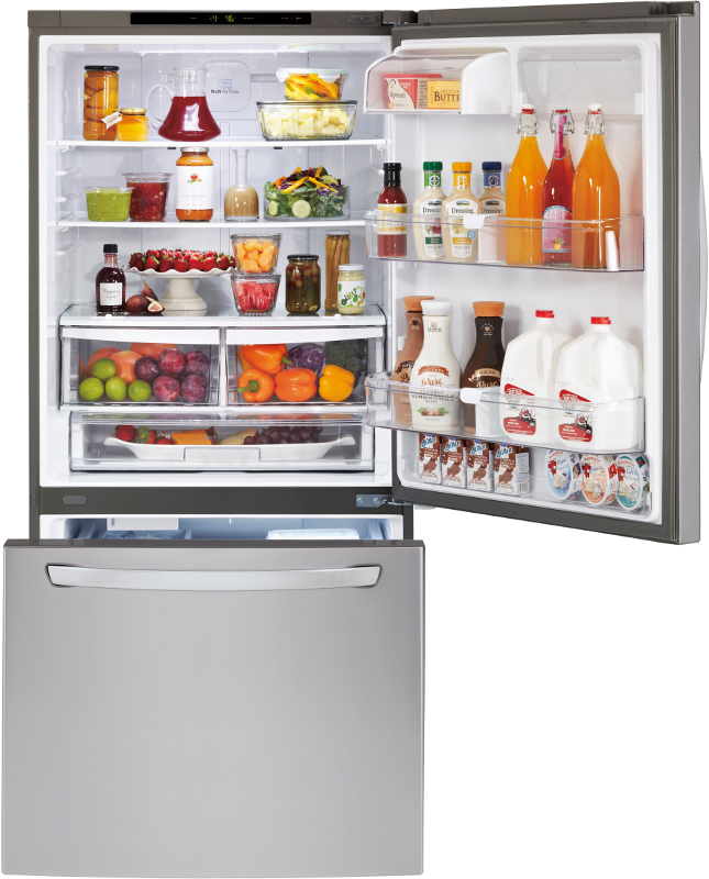 LG LDC24370ST Large Capacity Bottom Freezer Refrigerator with freezer drawer opened and top fridge door opened to show all the food in the fridge.