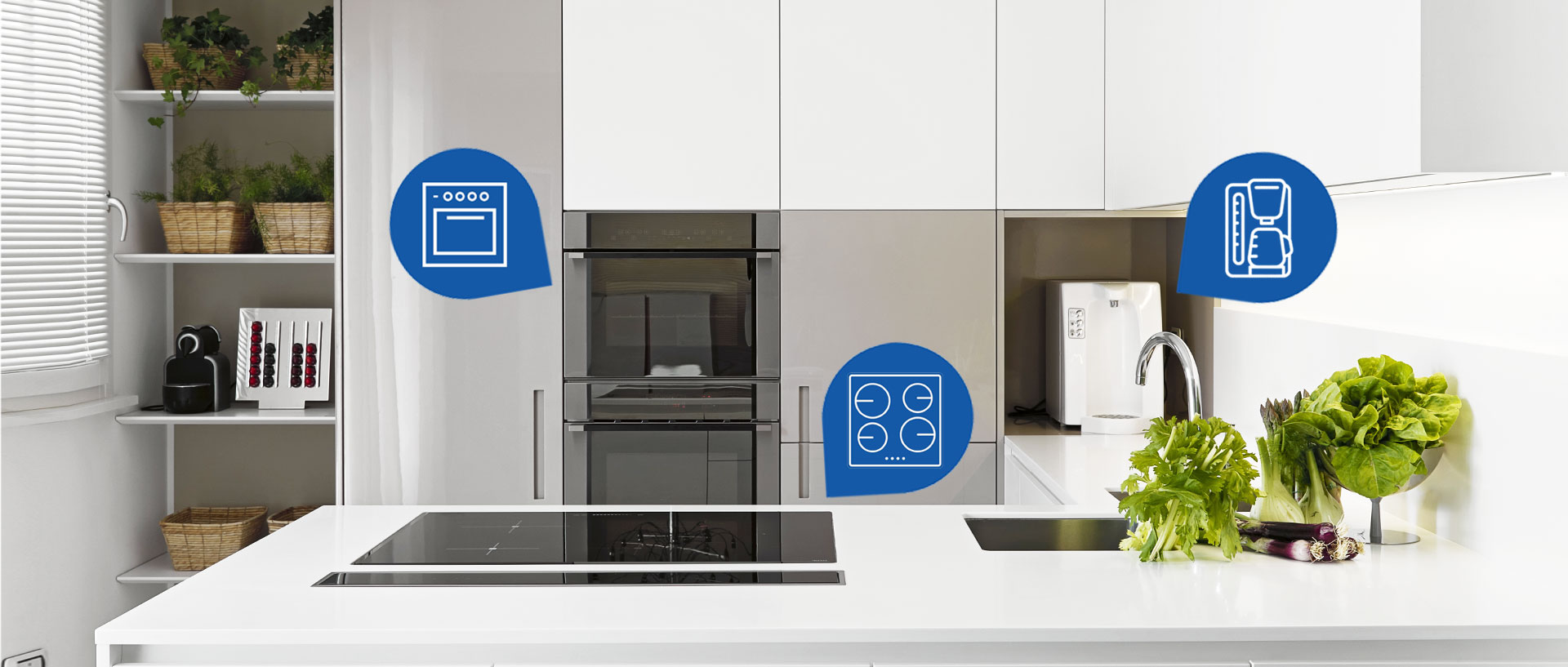 A white, minimally designed kitchen with a built-in induction cooktop, a built-in wall oven and a coffee maker.