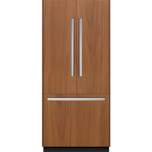 Panel-ready French-Door Bottom Freezer Refrigerator with a woodgrain panel design and stainless steel handles.