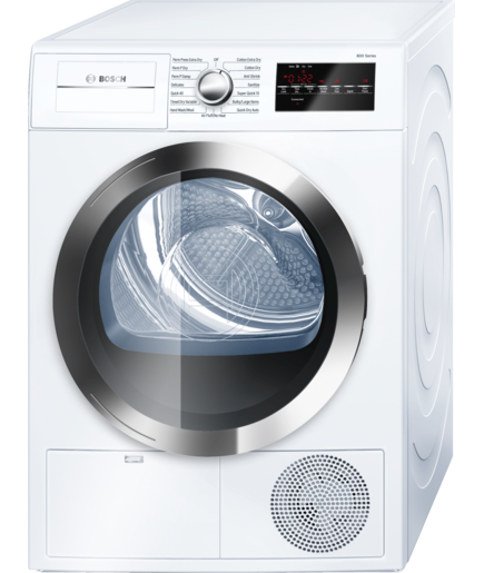 Bosch WTG86402UC:?From the 800 Series, a 24-inch electric dryer with a 4.0 cubic foot capacity, 15 dry cycles and 4 temperature settings. It is Energy Star certified, comes in white.