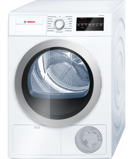 Bosch WTG86401UC: This is from the 500 Series, a 24-inch electric dryer with a 4.0 cubic foot capacity.? There are 15 dry cycles and 4 temperature settings.? A condenser dryer, it is Energy Star certified, available in white.