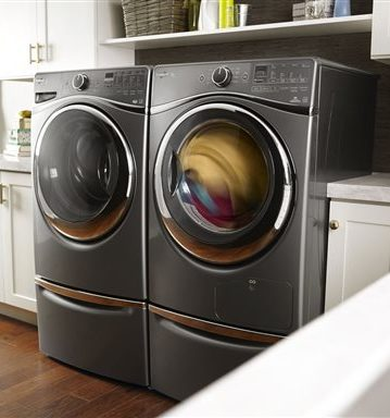 This photo features the Whirlpool WED9290FC 27-Inch Ventless Electric Dryer in Chrome Shadow.