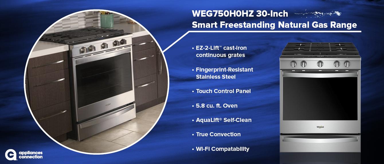 WEG750H0HZ 30-Inch Smart Freestanding Natural Gas Range Overview