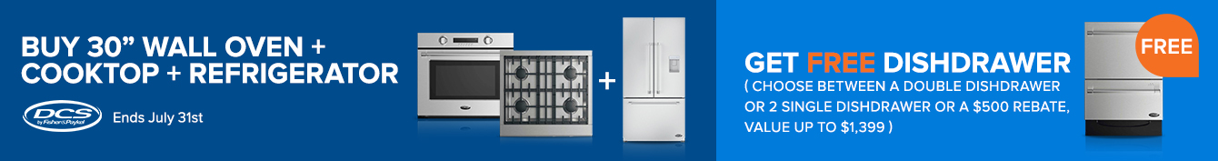 DCS Get A Free Double Dishwasher or 2 Free Single DishDrawer Dishwashers with Purchase of 36 Inch or 48 Inch U-Series or V-Series Range