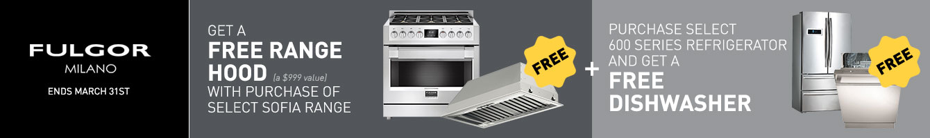 Build a qualifying package and get a free Fulgor Milano Range Hood Instantly