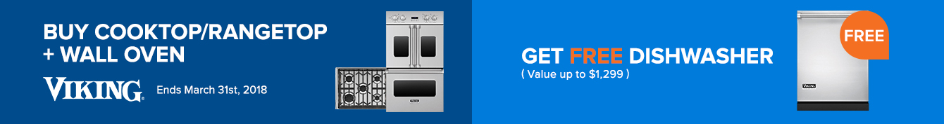 Free Viking Dishwasher with Professional Cooktop plus Wall Oven purchase