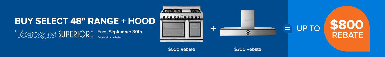 Tecnogas Superiore $800 Range and Hood Promotion