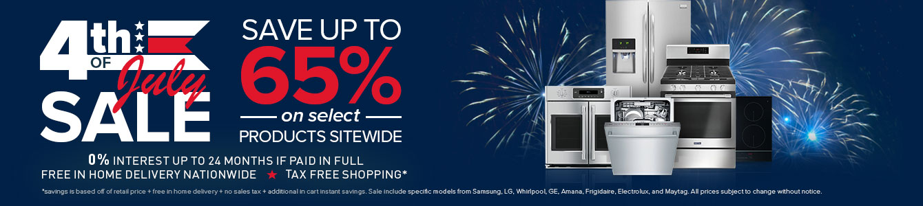 July 4th Savings Up to 65% Off Kitchen and Laundry Appliances