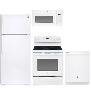 GE value 4-piece white kitchen appliance package