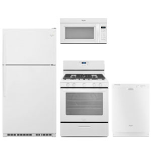Whirlpool white kitchen appliance package with top-freezer refrigerator