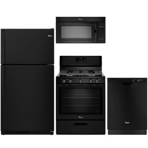 Whirlpool black kitchen appliance package with top-freezer refrigerator