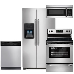 Frigidaire stainless steel 4-piece kitchen appliance package with side by side refrigerator