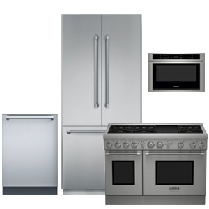Thermador stainless steel 4-piece kitchen appliance package